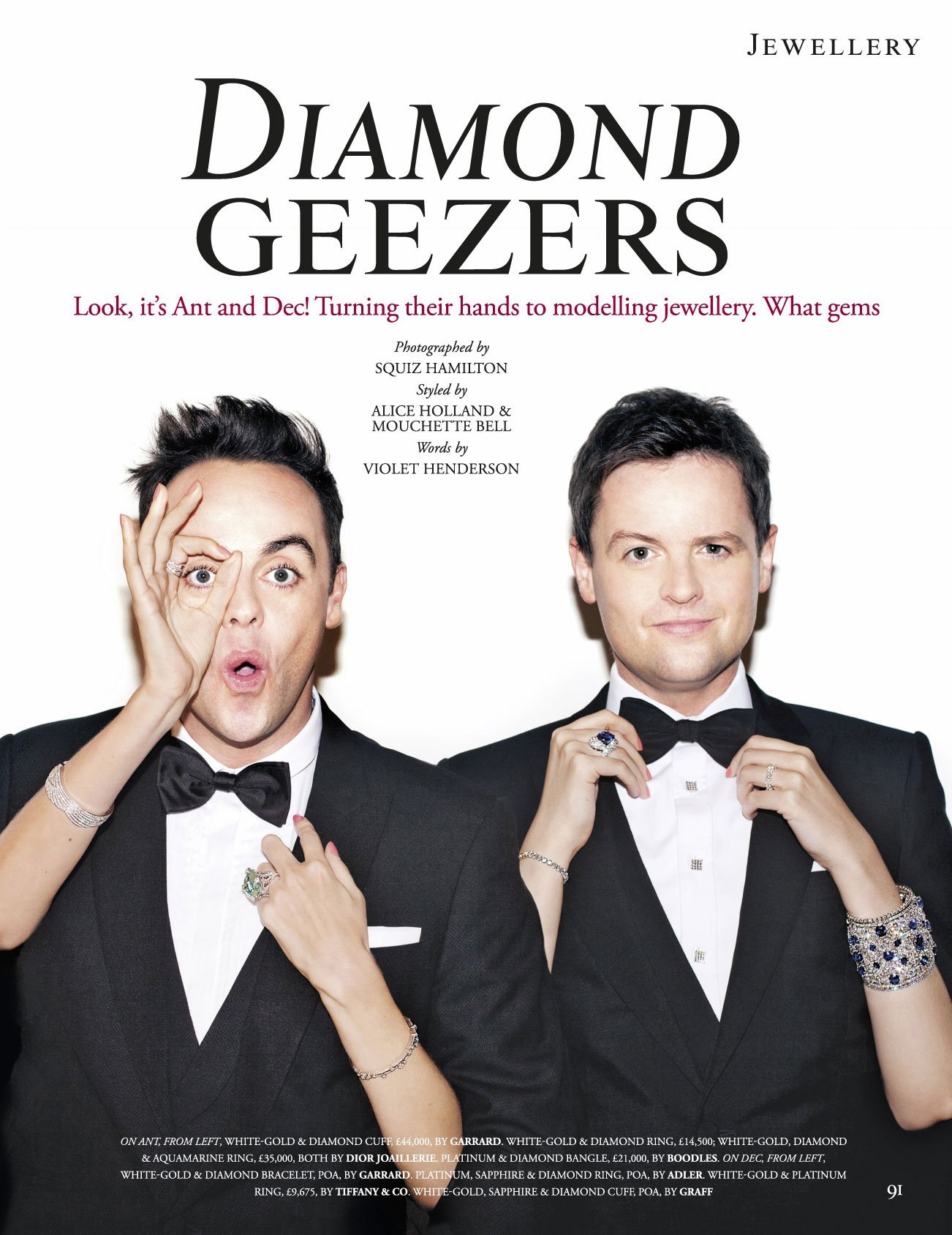 Oneafternoon, Art Direction & Print editorial layout with Ant and Dec